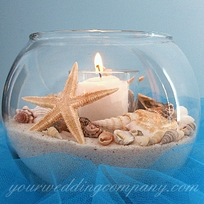 Декор места проведения банкета для морской свадьбы будет выполнен в бирюзовых, голубых, белых и песочных тонах. Прекрасно впишется в стиль этой свадьбы
